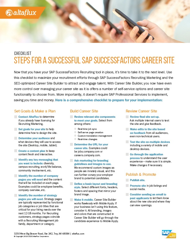 SAP SuccessFactors Career Site Builder Checklist