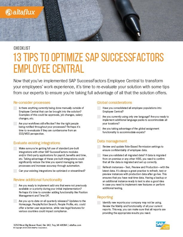 SuccessFactors Employee Central Optimization Checklist