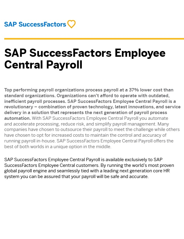 SAP SuccessFactors Employee Central Payroll Brochure
