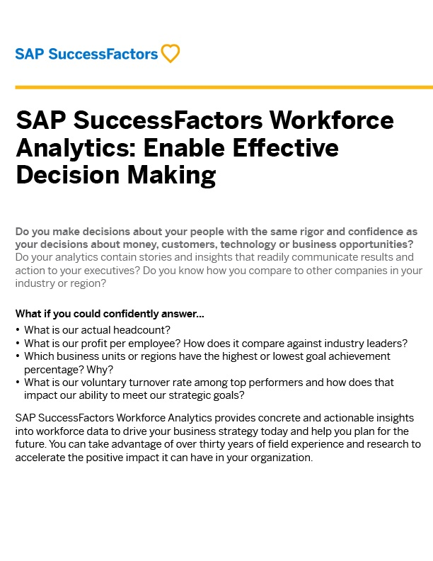 SAP SuccessFactors Workforce Analytics Brochure